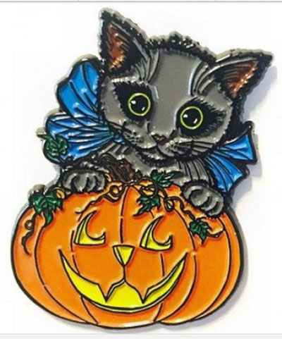 Halloween Black Kitty Pin from TigerPixie